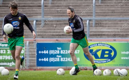 Tyrone vs Donegal. Donegal's Michael Murphy during the warm-up