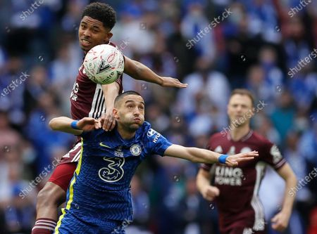 Stock Picture of Leicester's Wesley Fofana gets above Chelsea's Hakim Ziyech during the FA Cup final soccer match between Chelsea and Leicester City at Wembley Stadium in London, England