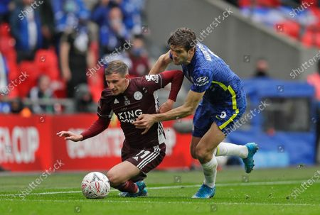 Chelsea's Marcos Alonso and Leicester's Marc Albrighton, left, during the FA Cup final soccer match between Chelsea and Leicester City at Wembley Stadium in London, England