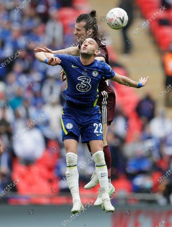 Leicester's Caglar Soyuncu gets above Chelsea's Hakim Ziyech during the FA Cup final soccer match between Chelsea and Leicester City at Wembley Stadium in London, England