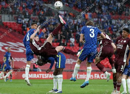 Jonny Evans (2-L) of Leicester in action against Antonio Ruediger (bottom) of Chelsea during the English FA Cup final between Chelsea FC and Leicester City at the Wembley Stadium in London, Britain, 15 May 2021.