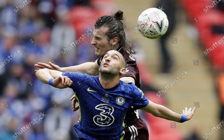 Stock Photo of Hakim Ziyech (front) of Chelsea in action against Caglar Soyuncu of Leicester during the English FA Cup final between Chelsea FC and Leicester City at the Wembley Stadium in London, Britain, 15 May 2021.