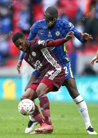 Kelechi Iheanacho (L) of Leicester in action against Antonio Ruediger (R) of Chelsea during the English FA Cup final between Chelsea FC and Leicester City at the Wembley Stadium in London, Britain, 15 May 2021.