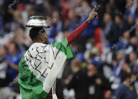 Leicester's Kelechi Iheanacho celebrates after the English FA Cup final between Chelsea FC and Leicester City at the Wembley Stadium in London, Britain, 15 May 2021. Leicester won 1-0.