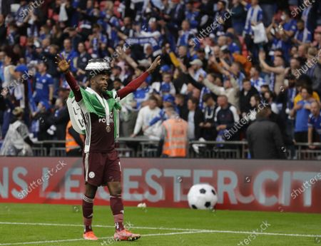 Stock Picture of Leicester's Kelechi Iheanacho celebrates after the English FA Cup final between Chelsea FC and Leicester City at the Wembley Stadium in London, Britain, 15 May 2021. Leicester won 1-0.