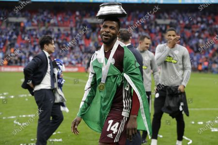 Stock Image of Leicester's Kelechi Iheanacho celebrates after the English FA Cup final between Chelsea FC and Leicester City at the Wembley Stadium in London, Britain, 15 May 2021. Leicester won 1-0.