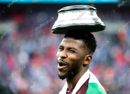 Kelechi Iheanacho of Leicester celebrates after winning the English FA Cup final between Chelsea FC and Leicester City at the Wembley Stadium in London, Britain, 15 May 2021.