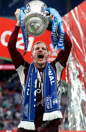Leicester's Marc Albrighton celebrates with the trophy after winning the English FA Cup final between Chelsea FC and Leicester City at the Wembley Stadium in London, Britain, 15 May 2021.