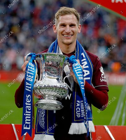 Marc Albrighton of Leicester City holds the FA Cup