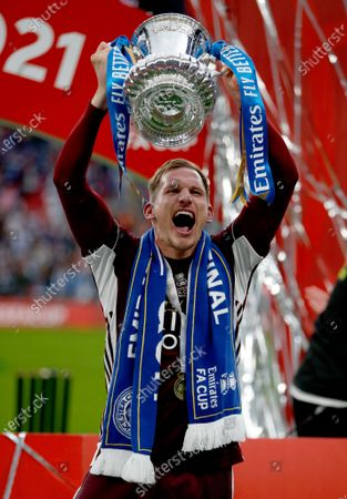 Marc Albrighton of Leicester City holds aloft the FA Cup
