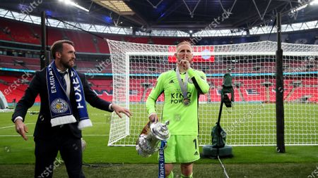 Stock Picture of Kasper Schmeichel the Leicester City captain with the FA Cup