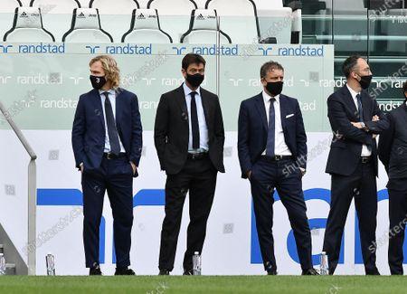 President of Juventus FC Andrea Agnelli, Vice-President of Juventus FC Pavel Nedved and Manager of Juventus FC Fabio Paratici