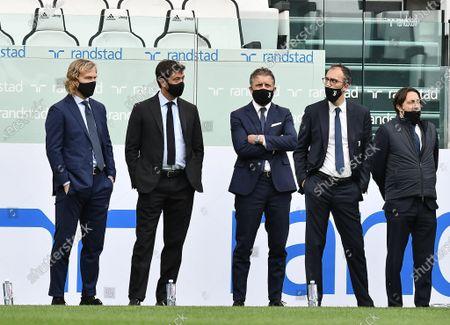 President of Juventus FC Andrea Agnell, Vice-President of Juventus FC Pavel Nedved and Manager of Juventus FC Fabio Paraticii