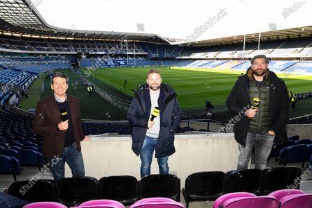 Edinburgh vs Glasgow Warriors. Premier Sports Pundit's Dougie Vipond, John Barclay and Jim Hamilton