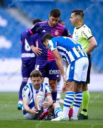 Asier Illarramendi of Real Sociedad CF reacts during the La Liga match between Real Sociedad and Real Valladolid CF  at Reale Arena on May 16, 2021 in San Sebastian, Spain.