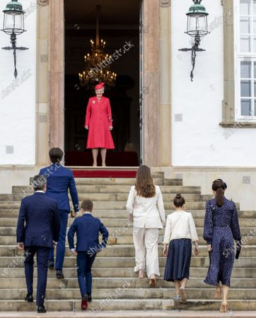 Stock Image of Crown Princess Mary and Crown Prince Frederik and Prince Christian and Princess Isabella and Prince Vincent and Princess Josephine and Queen Margrethe II