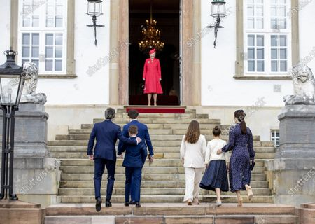 Stock Photo of Crown Princess Mary and Crown Prince Frederik and Prince Christian and Princess Isabella and Prince Vincent and Princess Josephine and Queen Margrethe II