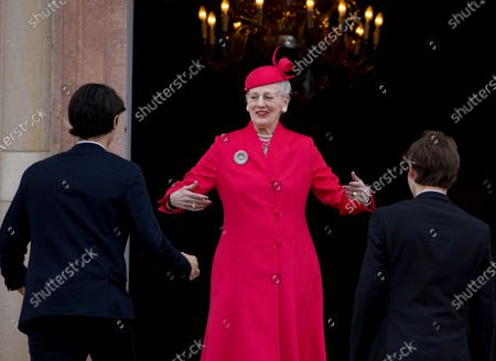 Queen Margrethe II and Prince Nikolai and Prince Felix