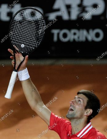 Serbia's Novak Djokovic celebrates after beating Italy's Lorenzo Sonego in their semi-final match at the Italian Open tennis tournament, in Rome, . Djokovic won 6-3 6-7 6-2