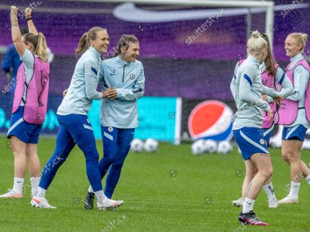 Chelsea's Magdalena Andersson (L) and Sophie Ingle during a training session on the eve of the UEFA Women's Champions League final between Chelsea FC and FC Barcelona