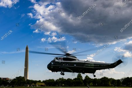 Marine One takes off from the Ellipse with United States President Joe Biden and first lady Dr. Jill Biden aboard near the White House in Washington, D.C., U.S.,. Biden rescinded several executive actions on Friday that were put in place by Donald Trump, including one targeting social media companies that his predecessor had ordered after Twitter fact-checked his tweets.