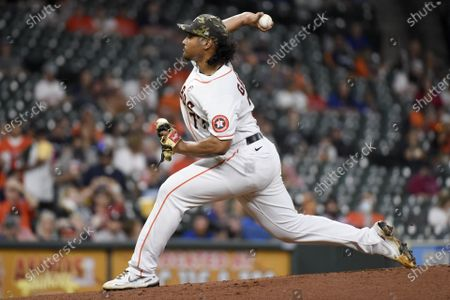 Stock Picture of Houston Astros starting pitcher Luis Garcia delivers during the first inning of a baseball game against the Texas Rangers, in Houston