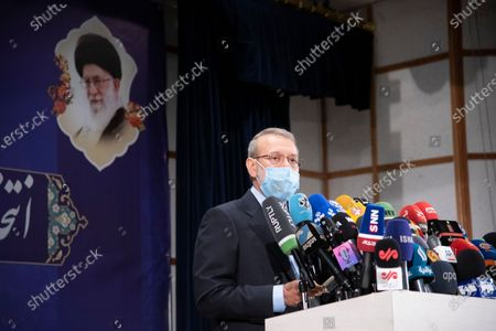 Former  Speaker of the Parliament of Iran, Ali Larijani press conference with journalists and media. Ali Larijani was registered for the presidential election 2021. Presidential elections are scheduled to be held in Iran in 18 june 2021.
