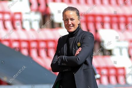 Stock Photo of Manchester United Women Head Coach Casey Stoney during the Women's FA Cup match between Manchester United Women and Leicester City at Leigh Sports Village, Leigh
