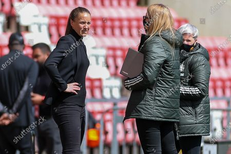 Manchester United Women Head Coach Casey Stoney during the Women's FA Cup match between Manchester United Women and Leicester City at Leigh Sports Village, Leigh