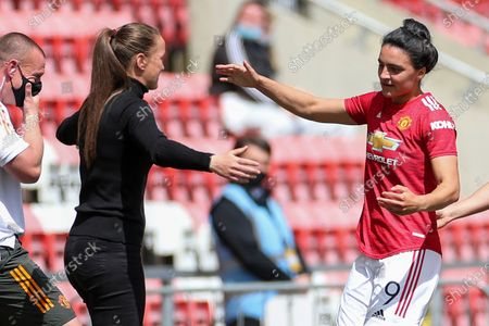 GOAL Manchester United Women Forward Jess Sigsworth (9) celebrates with Manchester United Women Head Coach Casey Stoney after scoring to make it 1-0 during the Women's FA Cup match between Manchester United Women and Leicester City at Leigh Sports Village, Leigh