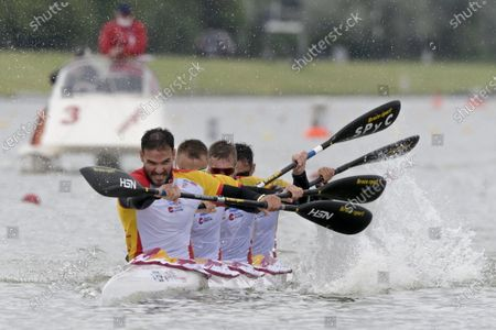 Stock Image of Saul Craviotto, Marcus Walz, Carlos Arevalo, and Rodrigo Germade of Spain are on their way to win the men's K4 500m final at the ICF Canoe Sprint World Cup in Szeged, Hungary, 16 May 2021.
