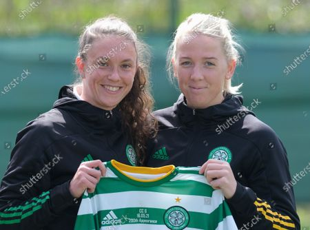 Celtic captain Kelly Clark presents Chloe Craig of Celtic with a shirt on the occasion of her 200th appearance for the club before the Scottish Womenâ€s Premier League 1 match between Hearts and Celtic at Oriam in Edinburgh, Scotland.