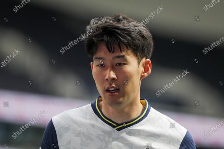 Son Heung-Min of Tottenham looks on during the English Premier League soccer match between Tottenham Hotspur and Wolverhampton Wanderers in London, Britain, 16 May 2021.