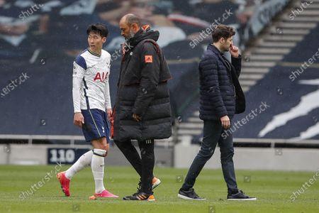 (L-R) Son Heung-Min of Tottenham, Wolverhampton Wanderers manager Nuno Espirito Santo and Tottenham manager Ryan Mason after the English Premier League soccer match between Tottenham Hotspur and Wolverhampton Wanderers in London, Britain, 16 May 2021.