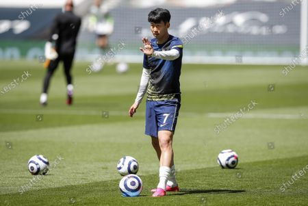 Son Heung-Min of Tottenham gestures during warm up ahead of the English Premier League soccer match between Tottenham Hotspur and Wolverhampton Wanderers in London, Britain, 16 May 2021.