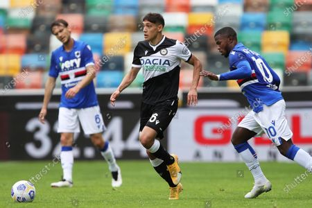 Stock Picture of Udinese's Nahuel Molina (L) and Sampdoria's Balde Keita in action during the Italian Serie A soccer match Udinese Calcio vs UC Sampdoria at the Friuli - Dacia Arena stadium in Udine, Italy, 16 May 2021.