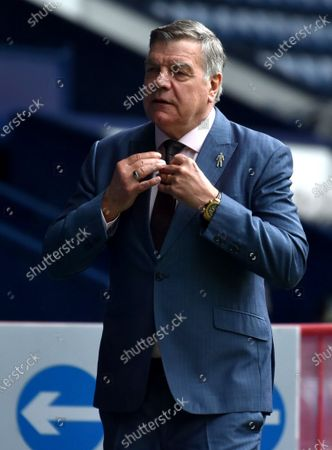 West Bromwich's Manager Sam Allardyce reacts before the English Premier League soccer match between West Bromwich Albion and Liverpool FC in West Bromwich, Britain, 16 May 2021.