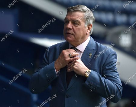 Stock Photo of West Bromwich's Manager Sam Allardyce reacts before the English Premier League soccer match between West Bromwich Albion and Liverpool FC in West Bromwich, Britain, 16 May 2021.