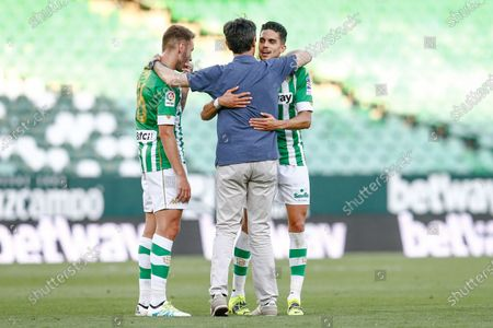 SD Huesca manager Jose Rojo Martin Pacheta and Loren Moron and Marc Bartra of Real Betis
