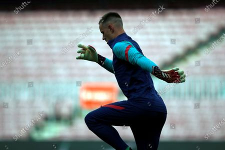 Barcelona's goalkeeper Marc-Andre ter Stegen warms up prior to the Spanish LaLiga soccer match between FC Barcelona and Celta Vigo held at Camp Nou stadium in Barcelona, Spain, 16 May 2021.