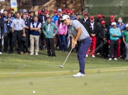Kyoung-hoon Lee of South Korea putts on the eighteenth green during the fourth round of the AT&T Byron Nelson golf tournament at TPC Craig Ranch in McKinney, Texas, USA, 16 May 2021. Lee won the tournament.