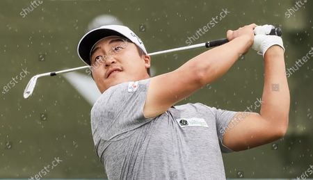 Kyoung-hoon Lee of South Korea hits his tee shot on the seventeenth hole during the fourth round of the AT&T Byron Nelson golf tournament at TPC Craig Ranch in McKinney, Texas, USA, 16 May 2021. Lee won the tournament.