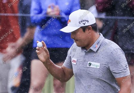 Kyoung-hoon Lee of South Korea reacts after shinking a birdie putt on the eighth green during the fourth round of the AT&T Byron Nelson golf tournament at TPC Craig Ranch in McKinney, Texas, USA, 16 May 2021. The tournament is being played 13 May through 16 May.