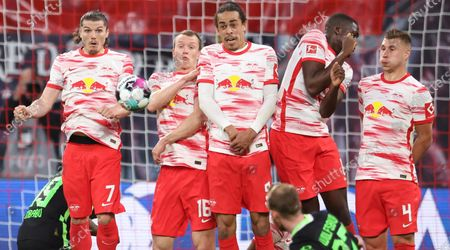 Leipzig players (L-R) Marcel Sabitzer, Lukas Klostermann, Yussuf Poulsen, Ibrahima Konate, and Willi Orban in action during the German Bundesliga soccer match between RB Leipzig and VfL Wolfsburg in Leipzig, Germany, 16 May 2021.