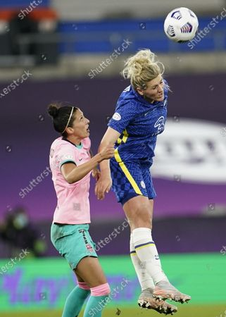 Barcelona's Jennifer Hermoso and Chelsea's Millie Bright (R) during the UEFA Women's Champions League final between Chelsea FC and FC Barcelona in Gothenburg, Sweden, 16 May 2021.