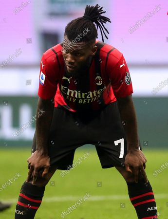 AC Milan's Franck Kessie reacts during the Italian serie A soccer match between AC Milan and Cagliari at Giuseppe Meazza stadium in Milan, Italy, 16 May 2021.