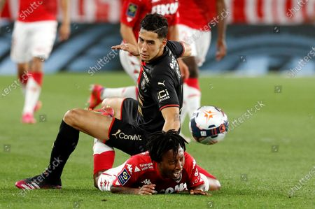 Stock Picture of Gelson Martins (R) of AS Monaco and Nayef Aguerd (L) of Rennes in action during the French Ligue 1 soccer match, AS Monaco vs Stade Rennais FC, at Stade Louis II, in Monaco, 16 May 2021.
