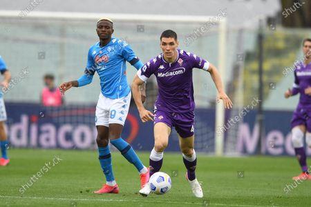 "Nikola Milenkovic (Fiorentina)Victor Osimhen (Napoli)                                         during the Italian ""Serie A"" match between Fiorentina  0-2 Napoli  at Artemio Franchi Stadium in Florence, Italy."