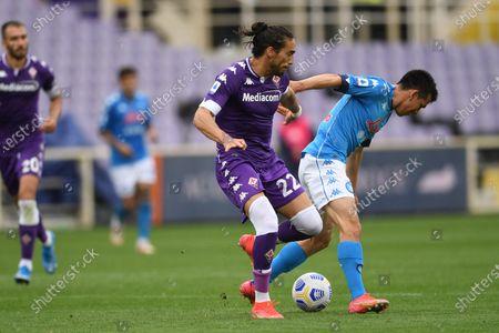 "Hirving Lozano (Napoli)Jose Martin Caceres Silva (Fiorentina)                                            during the Italian ""Serie A"" match between Fiorentina  0-2 Napoli  at Artemio Franchi Stadium in Florence, Italy."