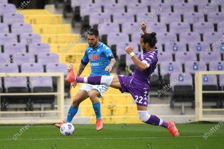 "Matteo Politano (Napoli)Jose Martin Caceres Silva (Fiorentina)                                         during the Italian ""Serie A"" match between Fiorentina  0-2 Napoli  at Artemio Franchi Stadium in Florence, Italy."